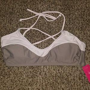Xhilaration Pink & Taupe Bikini Top